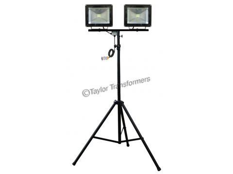 110V 2 X 50W LED MAST LIGHT ON HEAVY DUTY TRIPOD STAND