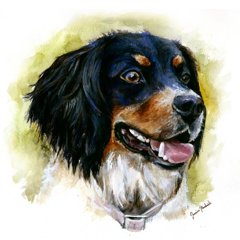 Painting of Wine Dog Addison