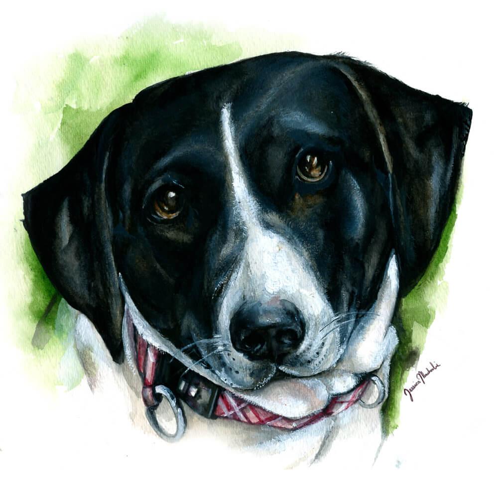 Painting of Wine Dog Addison