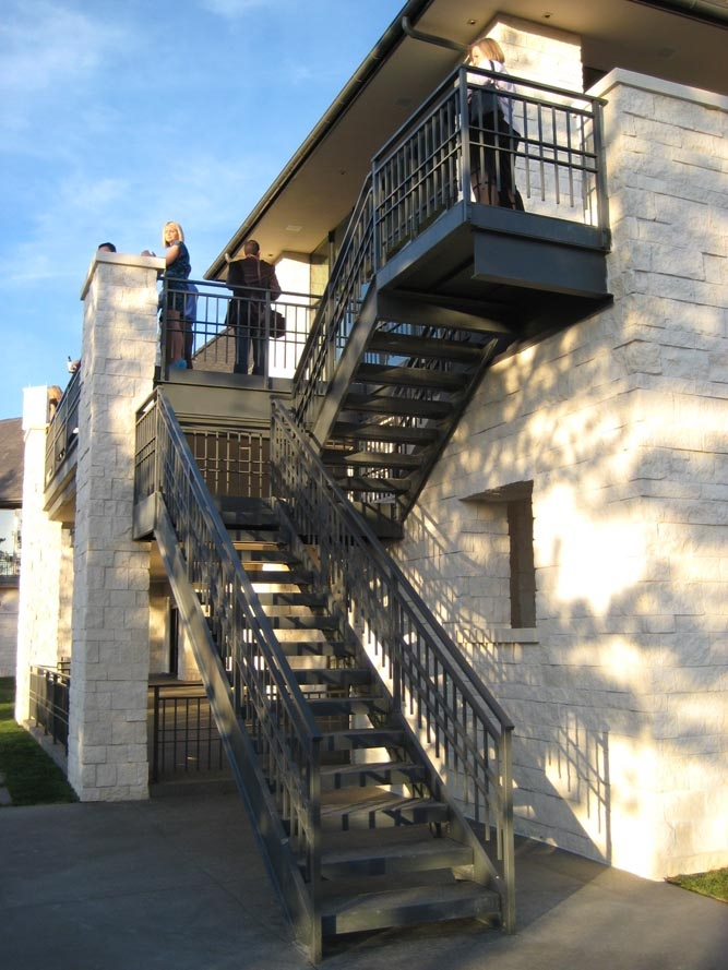Taylored Iron Custom Iron Works Taylored For You Colorado Front | Outdoor Steel Staircase Design | Steel Framed Exterior | Indoor | Vertical Wire Balustrade | Prefabricated Steel | Stair Handrail