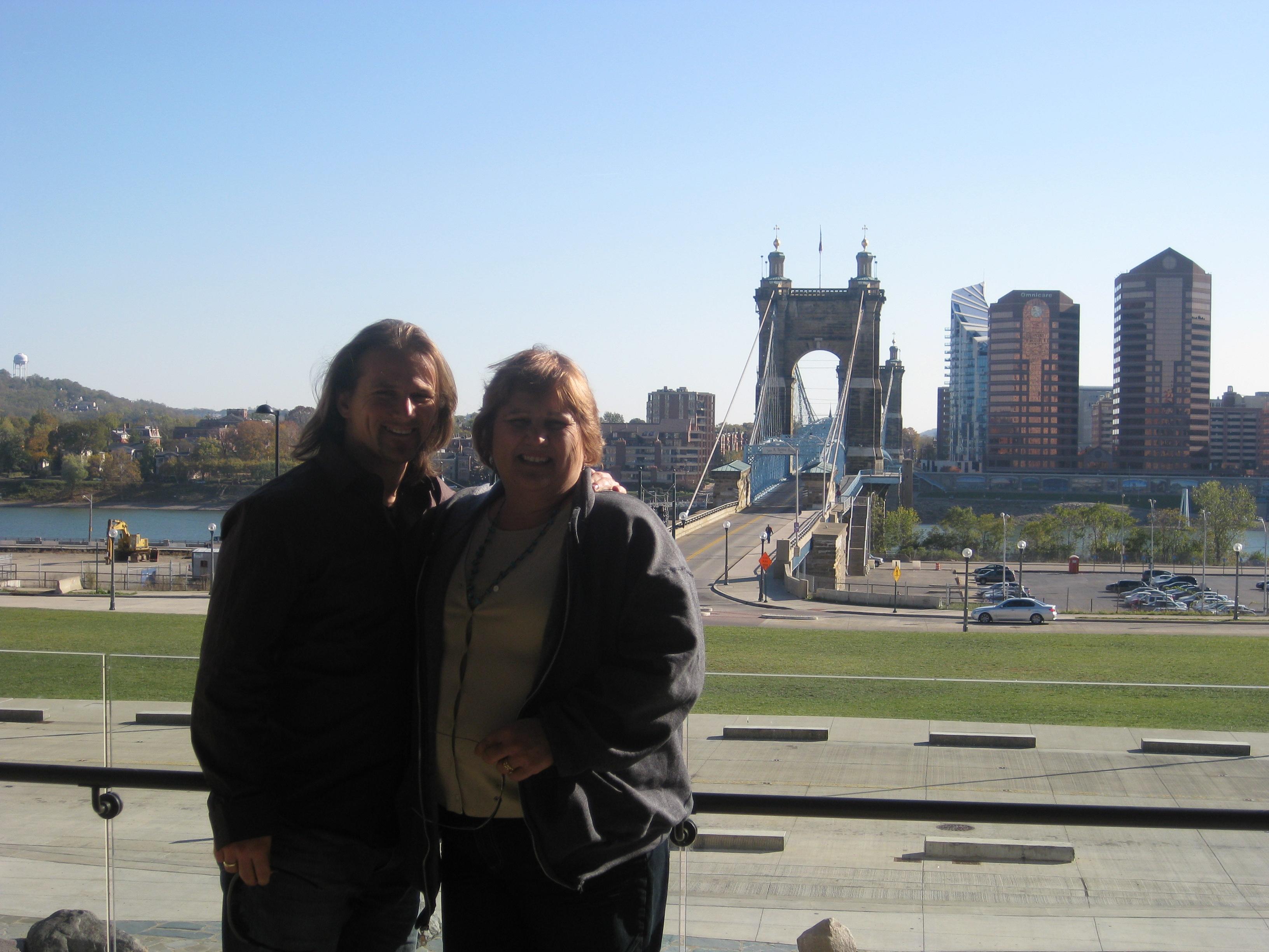 Mom and I Overlooking the Kentucky/Ohio River in Cincinnati, OH
