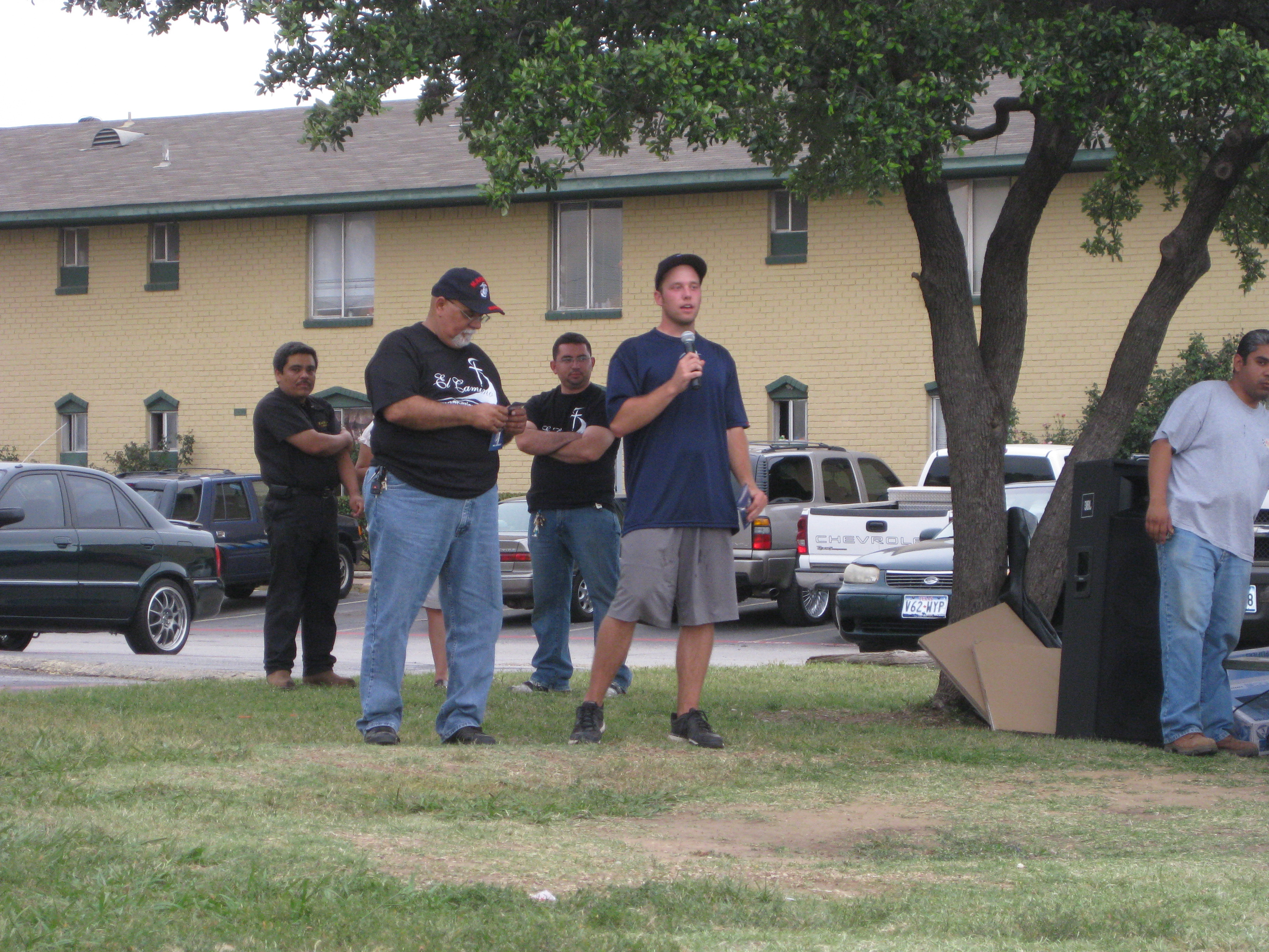 Outreach  with El Camino church in an apartment complex in Dallas area.  One AIA guys shares about who we are and the pastor translates.  Also one of our guys shared his testimony as well.