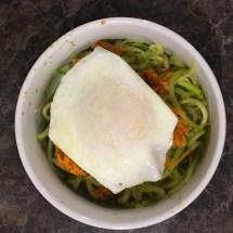 Zucchini noodles, pesto, sweet potato hash and a fried egg