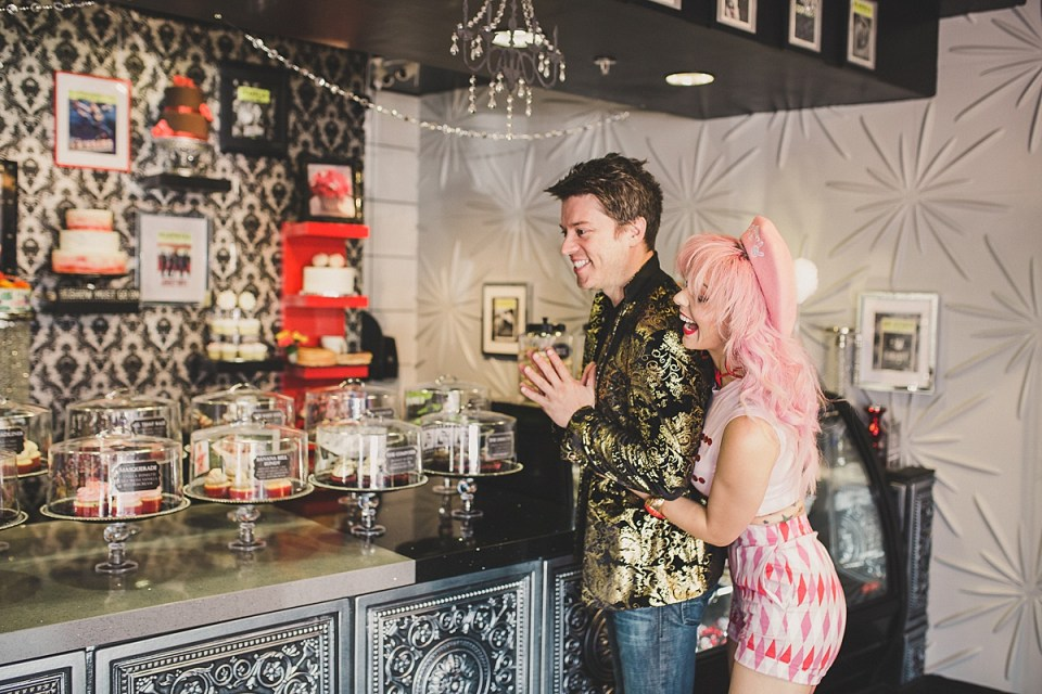 JD Scott & Annalee Belle excited to taste Showboy Bakeshops' delicious cake flavors.