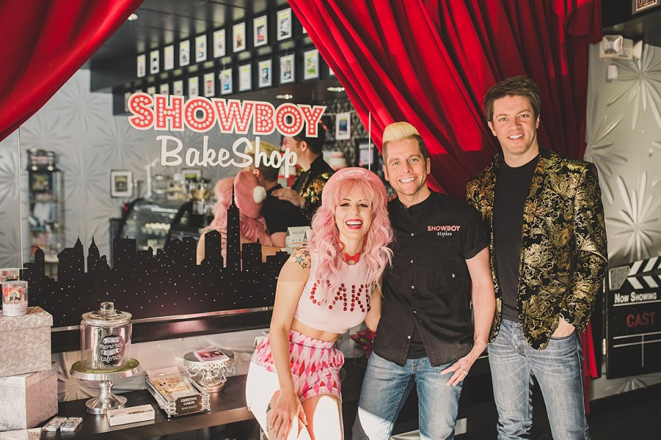 Annalee Belle & JD Scott with Showboy Bakeshops co-owner Stephen Lowry.
