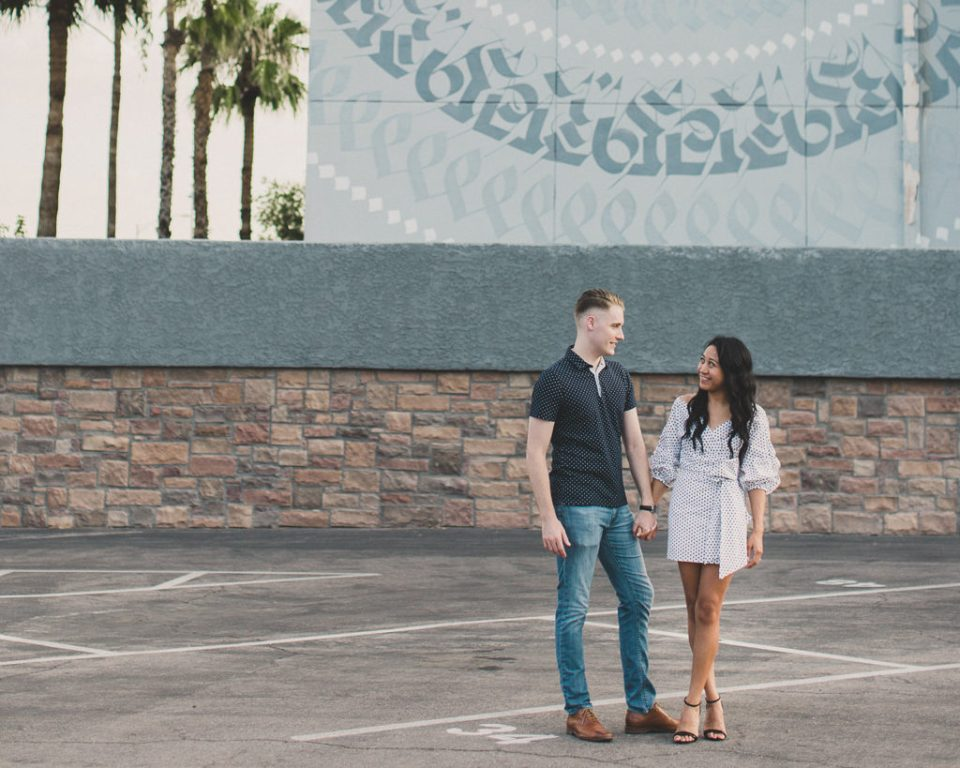 downtown engagement session with murals by Taylor Made Photography