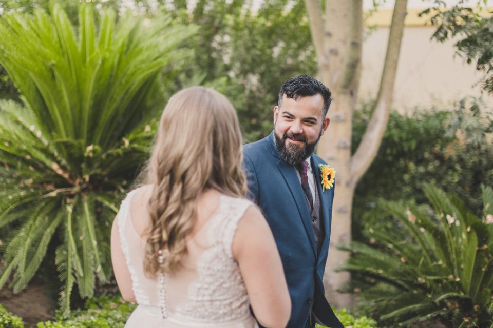 Taylor Made Photography captures first look during Las Vegas strip wedding