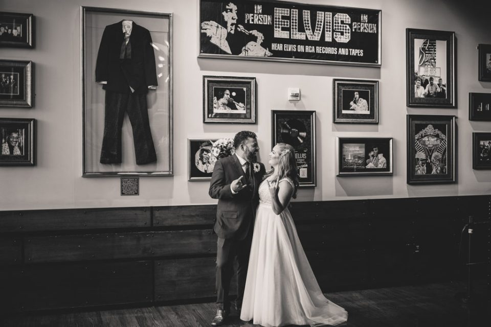 portraits at Hard Rock Cafe with Elvis memorabilia by Taylor Made Photography
