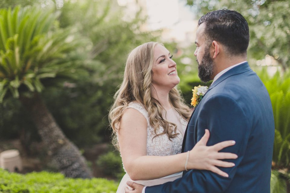 first look with bride and groom at MGM Grand poolside with Taylor Made Photography