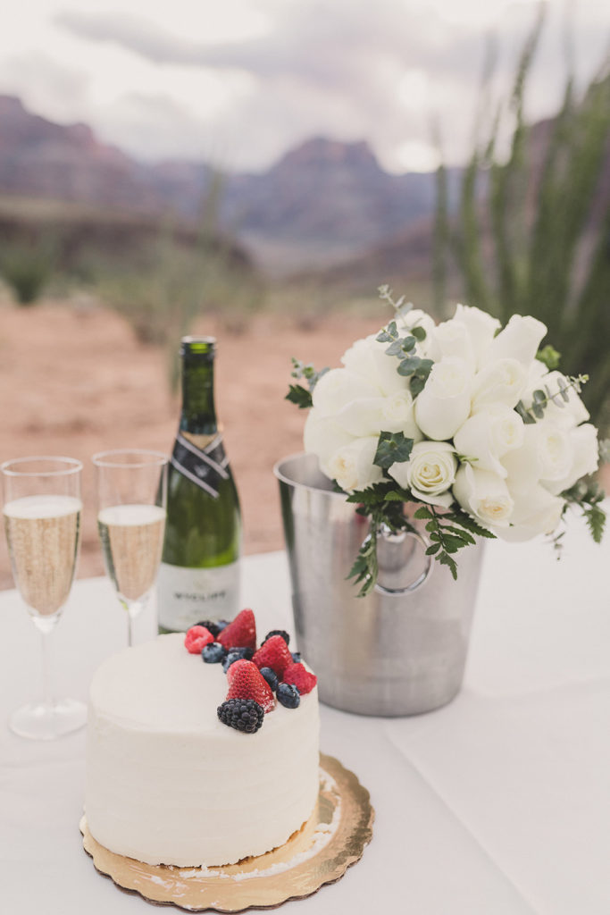 wedding cake and champagne for couple eloping in Grand Canyon