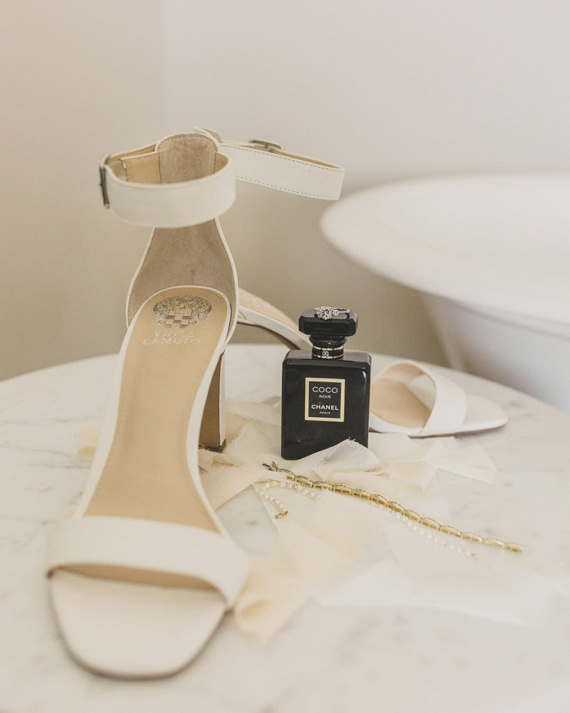 bride's shoes and Coco Chanel perfume for Las Vegas wedding