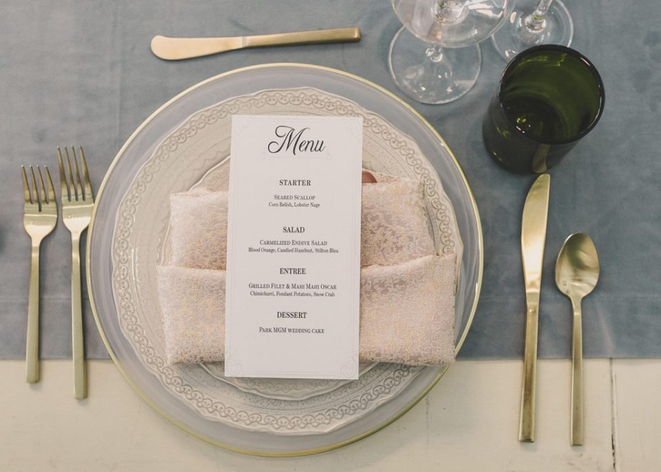 styled shoot menu with gold accents photographed by Taylor Made Photography