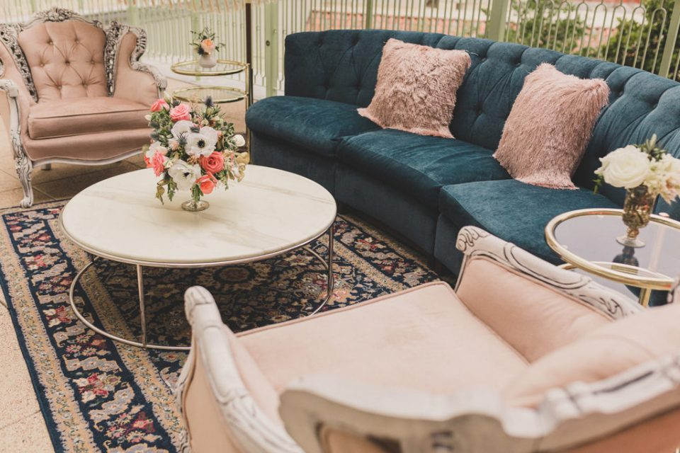 summer reception seating area for boho wedding day at Park MGM