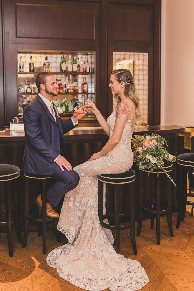 Park MGM wedding portraits at bar with Taylor Made Photography