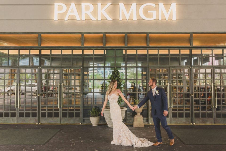 Park MGM wedding portraits by Las Vegas wedding photographer Taylor Made Photography