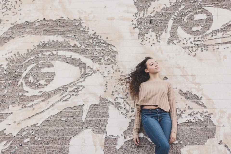 Las Vegas senior portraits by mural in Downtown Arts District by Taylor Made Photography