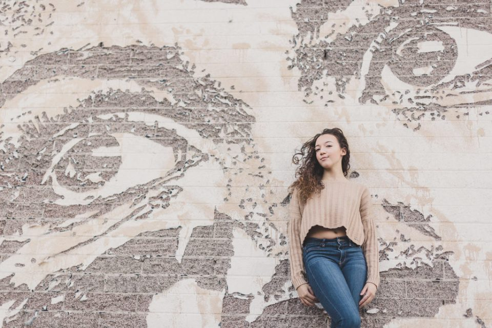 mural in Downtown Las Vegas senior portraits by Taylor Made Photography