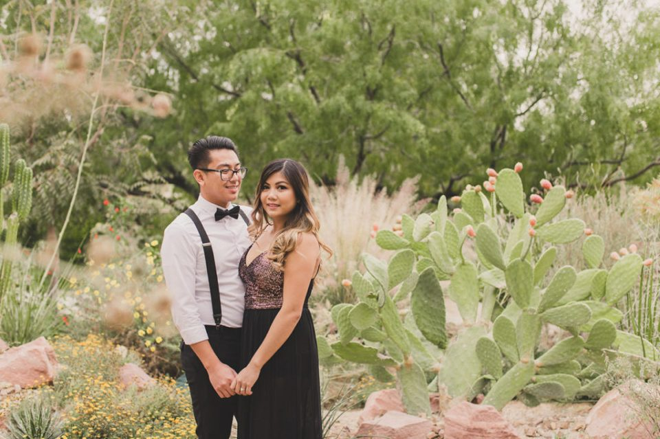 engagement portraits by cacti in Las Vegas with Taylor Made Photography