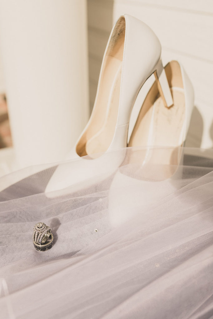 bride's shoes for intimate wedding at home photographed by Taylor Made Photography