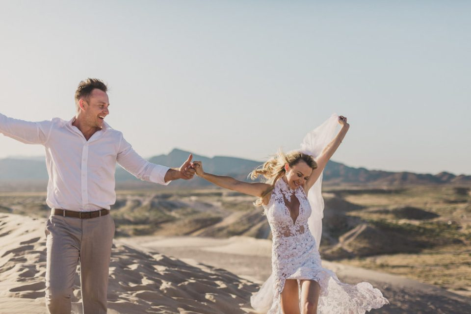 Taylor Made Photography captures bride and groom celebrating Las Vegas elopement