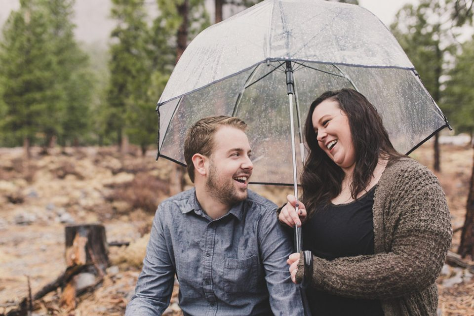 rainy engagement session at Mount Charleston with Taylor Made Photography