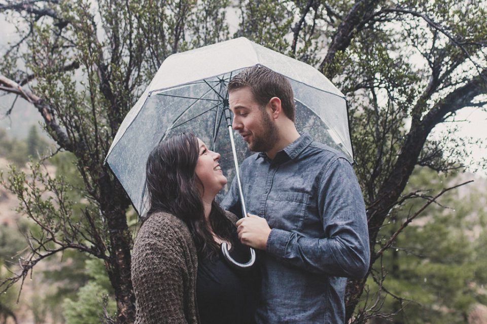 engagement session in the rain on Mt. Charleston with Taylor Made Photography