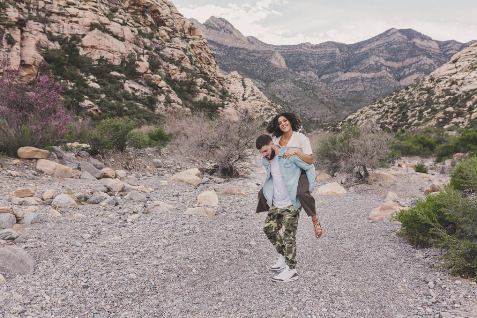 engagement session among rocks of Red Rock Canyon by Taylor Made Photography