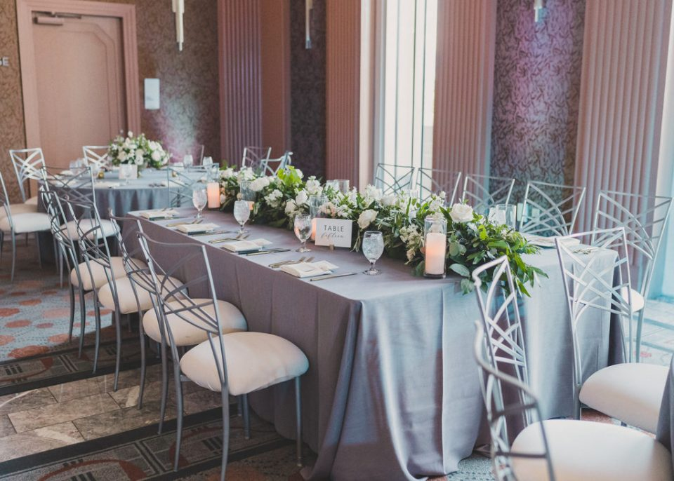 dramatic wedding reception at the Smith Center for the Performing Arts photographed by Taylor Made Photography