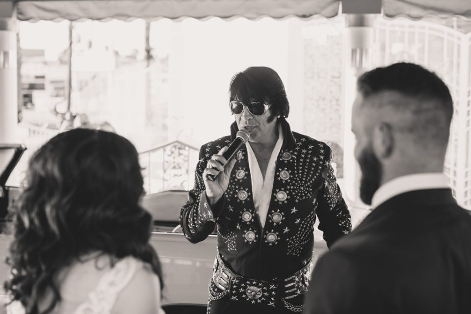 Elvis sings to newlyweds in Little White Way Chapel with Taylor Made Photography