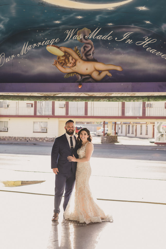 newlyweds pose in Tunnel of Love in Las Vegas photographed by Taylor Made Photography