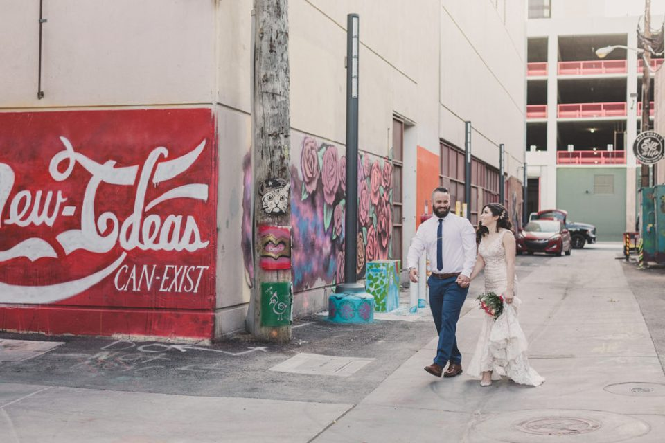 newlyweds walk in Las Vegas photographed by Taylor Made Photography