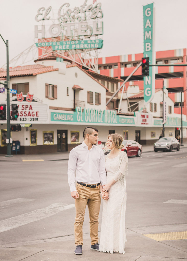 Fremont Street engagement portraits by Las Vegas wedding photographer Taylor Made Photography