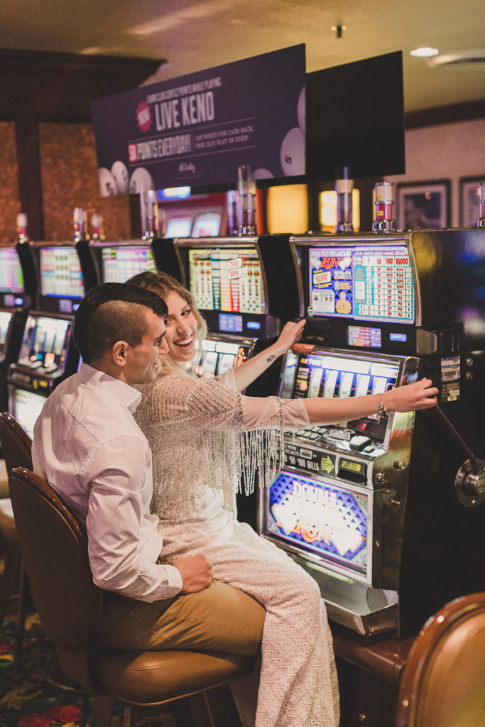 Nevada engagement session in casino with Taylor Made Photography