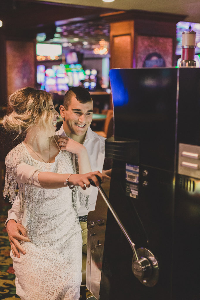 engagement portraits in Las Vegas casino photographed by Taylor Made Photography