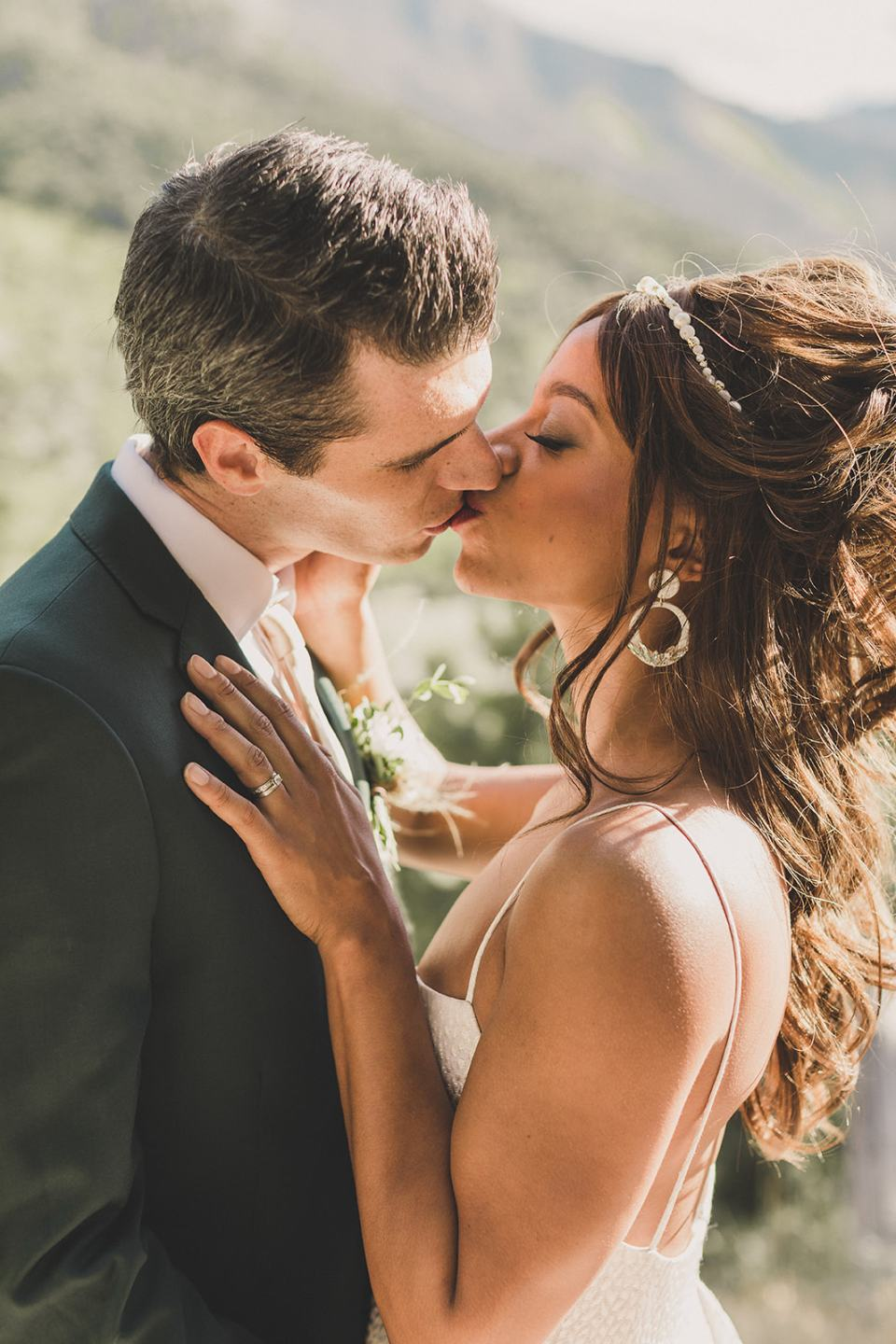 newlyweds kiss after ceremony at Resort at Mt Charleston elopement photographed by Taylor Made Photography
