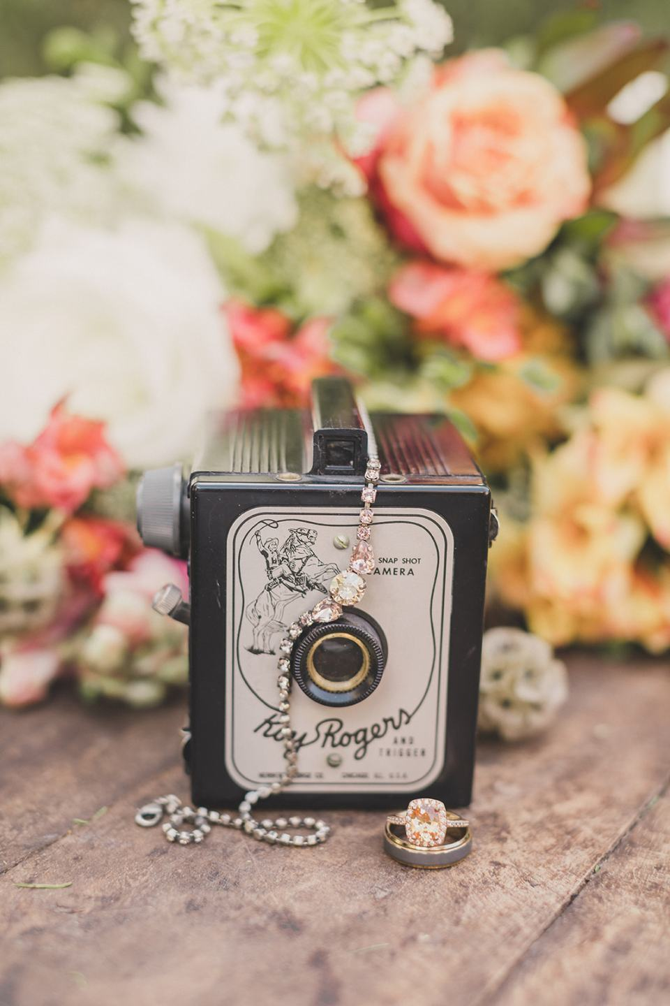 bride's details and vintage camera photographed by Taylor Made Photography