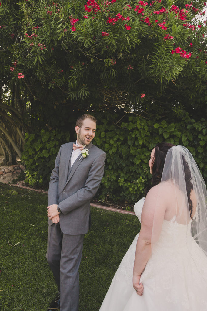 groom's reaction during first look photographed by Taylor Made Photography