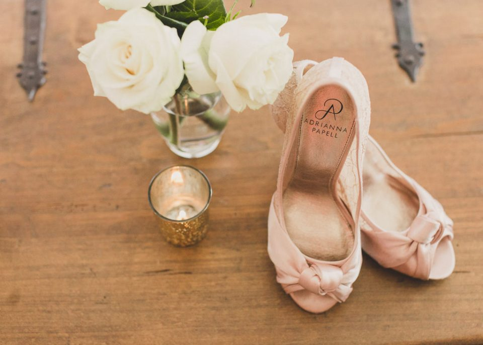 bride's details and pink shoes photographed by  Taylor Made Photography