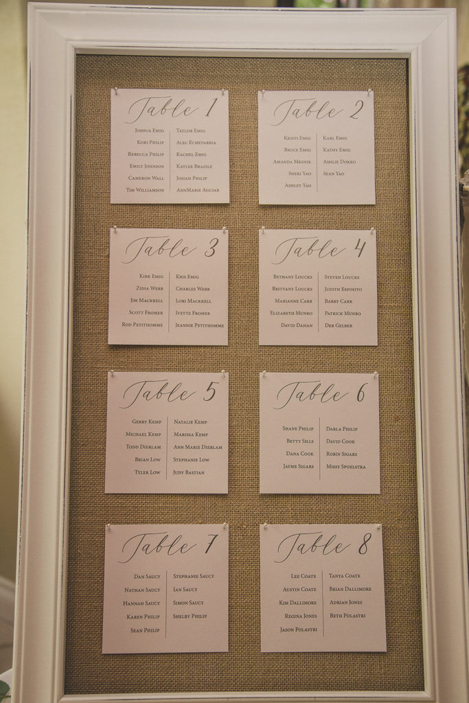 rustic seating chart for Las Vegas wedding photographed by  Taylor Made Photography