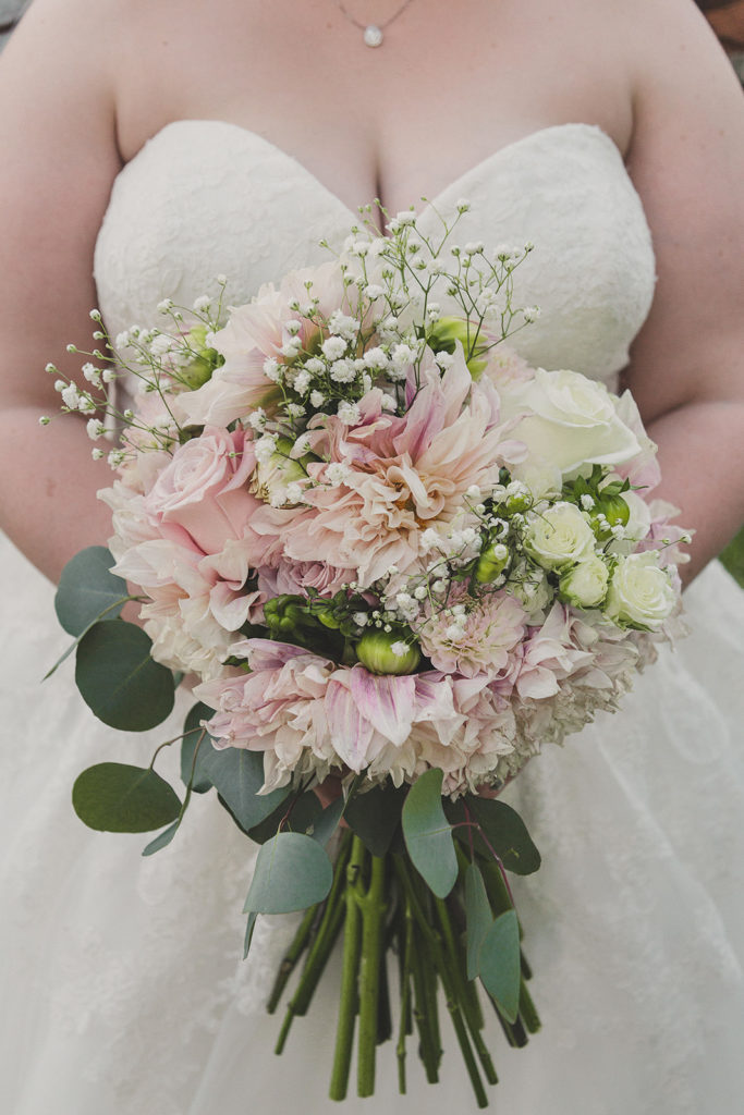 Taylor Made Photography photographs bride's pale pink and ivory wedding bouquet