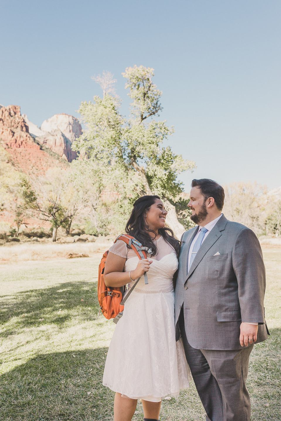 newlyweds prepare to hike in Zion National Park photographed by Taylor Made Photography
