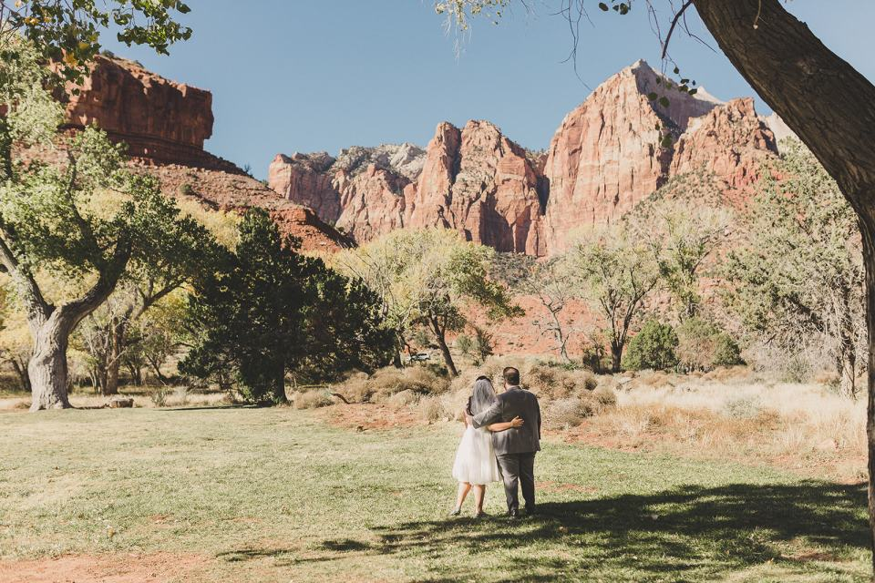 bride and groom look at Zion National Park after wedding ceremony photographed by Taylor Made Photography