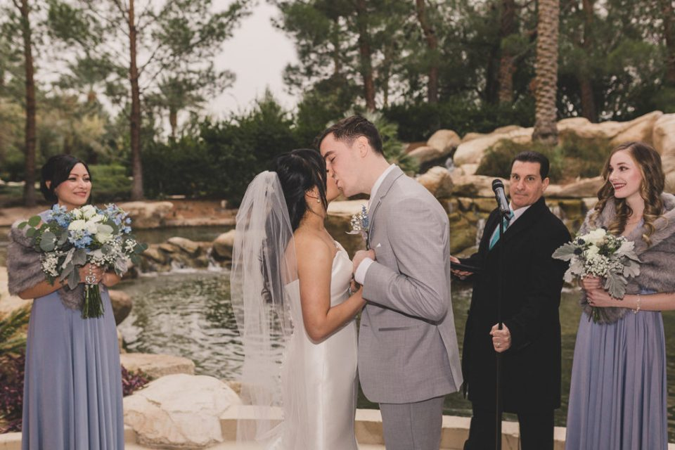 first kiss as husband and wife at JW Marriott Las Vegas