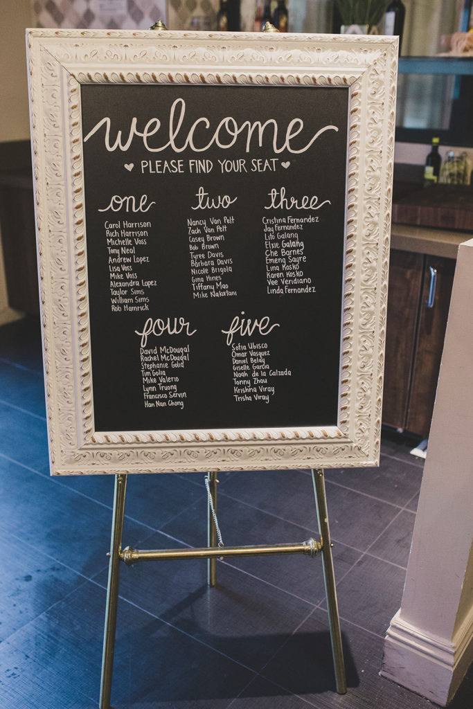 chalkboard seating chart for JW Marriott Las Vegas wedding reception