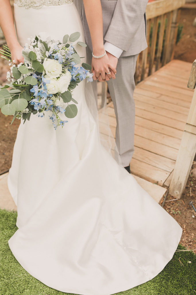 close up of bride's blue and white bouquet