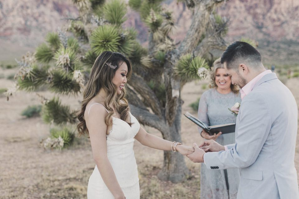 Taylor Made Photography photographs bride and groom exchanging vows in Las Vegas