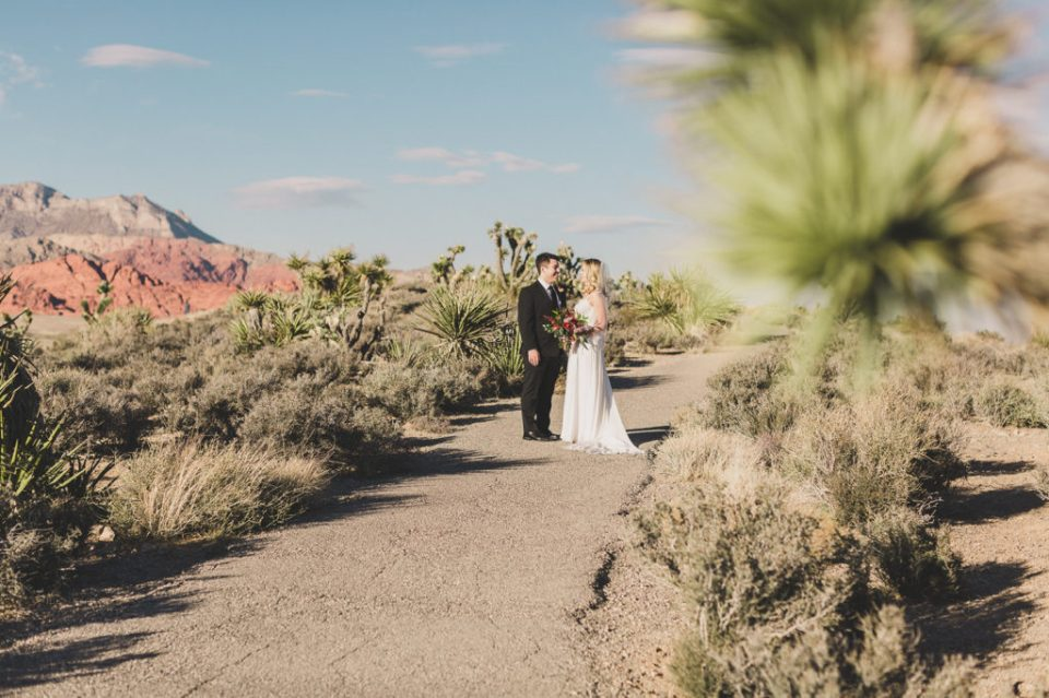 bride and groom's first look at Red Rock Canyon intimate wedding day with Taylor Made Photography