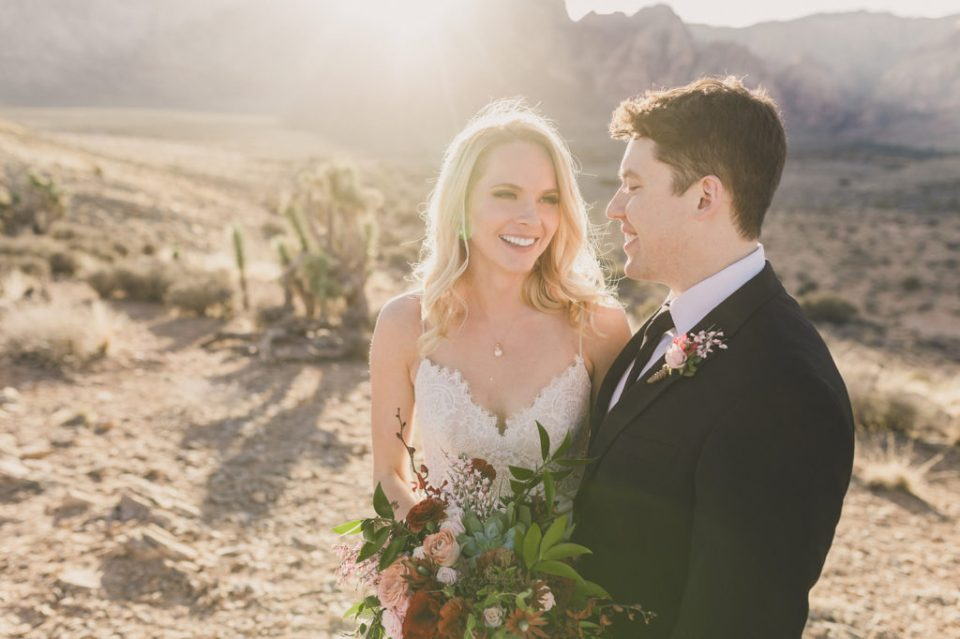 sunset wedding portraits in Red Rock Canyon photographed by Taylor Made Photography