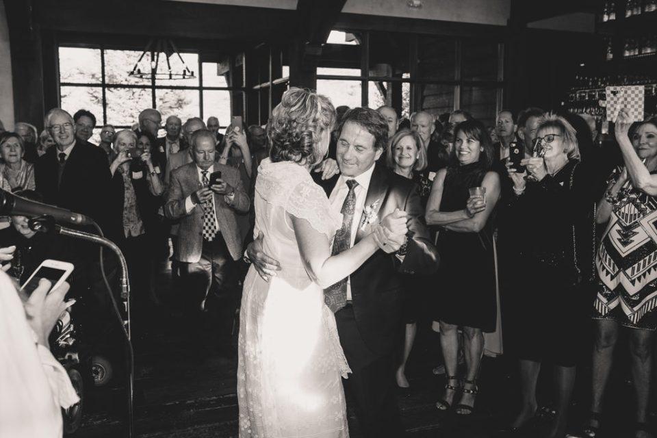 bride and groom dance during Freestone Lodge wedding reception