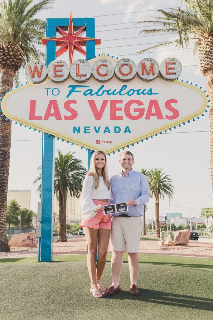 pregnancy announcement in downtown Las Vegas